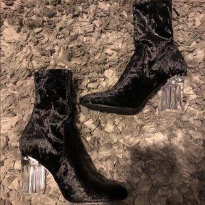 Crushed velvet black clear Perspex heels booties